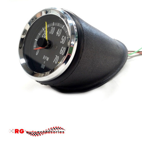 HOLDEN HK - HT - HG MONARO GTS CENTER CONSOLE TACHOMETER V8 WITH RUBBER HOUSING CASE AND WIRES