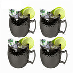 4 Pieces Moscow Mule Drinking Mug Glass Hammered Gunmetal Black Bar Mug Drinking Cup Moscow Mug - Queue de Coq