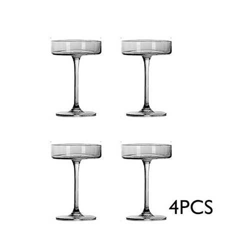 Free Shipping 4PCS 130ml New Creative Flat Lead Free Cocktail Glass Martini Glass Set of 4 - Queue de Coq