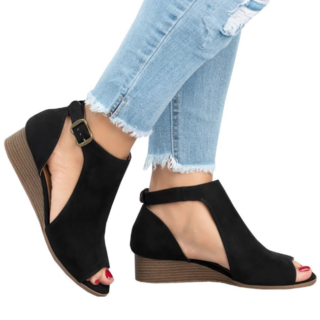 e2a79577f316 Large Size Ankle Strap Peep Toe Wedge Sandals – fofoshoes