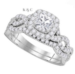 14 KT White Gold Princess Cut 1 CTTW Diamond Twist Bridal Wedding Ring Set