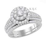 14k White Gold Round Diamond 1 CTTW Bridal Wedding Ring Set