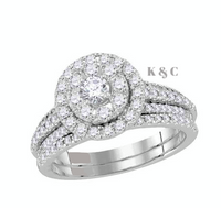 14 KT White Gold Round Diamond Halo 1 CTTW Bridal Wedding Ring Set