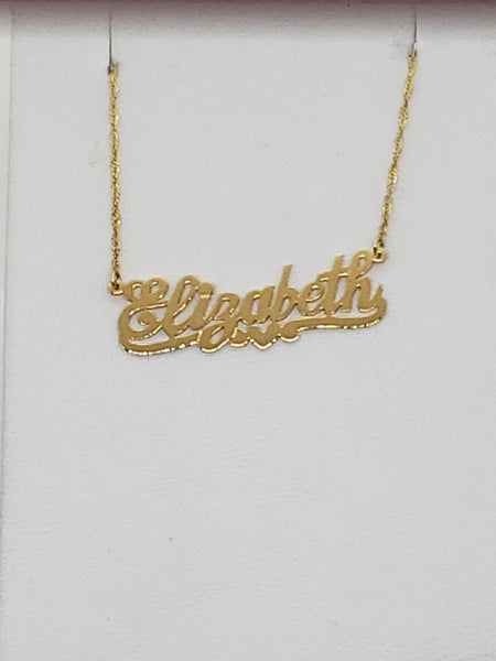 Elizabeth 14K White/ Yellow Gold Name Plate Alphabet Pendant