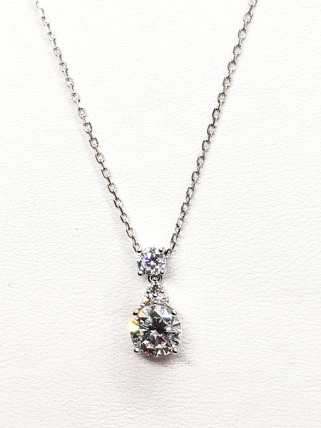 Silver Diamond Pendant with Chain KCS102