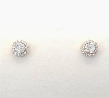 Two Tone 14K Gold 0.50 CT Diamond Stud Unisex Earrings KCS5953