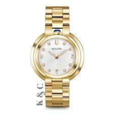 Bulova Rubaiyat Gold Diamond Stainless Steel Women's Watch Model: 96P184