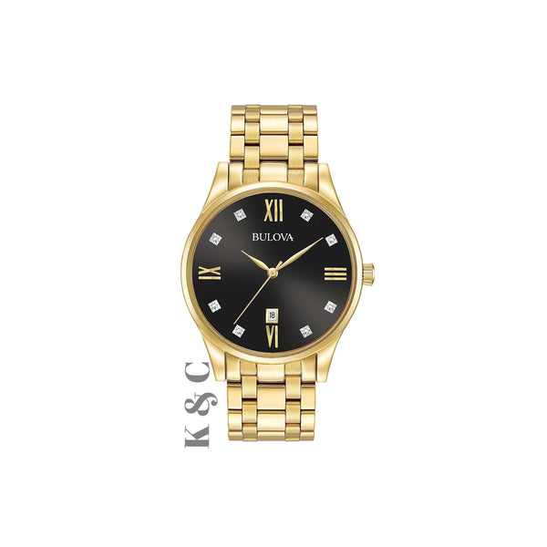 Brand New Men's Bulova Diamond Accent Gold-Tone Watch with Black Dial Model: 97D108