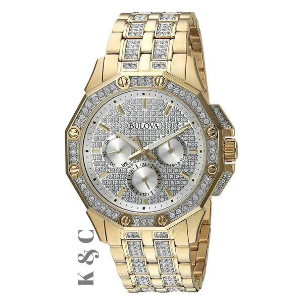 Brand New Bulova Men's Watch Crystal Gold Tone, Model: 98C126