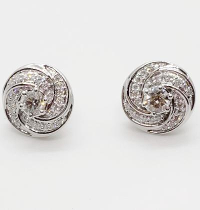 14K White Gold 1.10 CT Diamond Round Swirl Stud Earrings KC12353