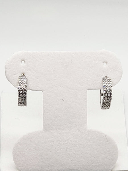 14 Karat White Gold Cubic Zircon Huggi Hoop Earrings KC1457