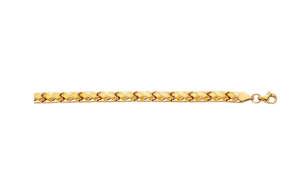 "14K 7.25"" Yellow Gold Shiny Textured Weaved Fancy Bracelet  KC245"
