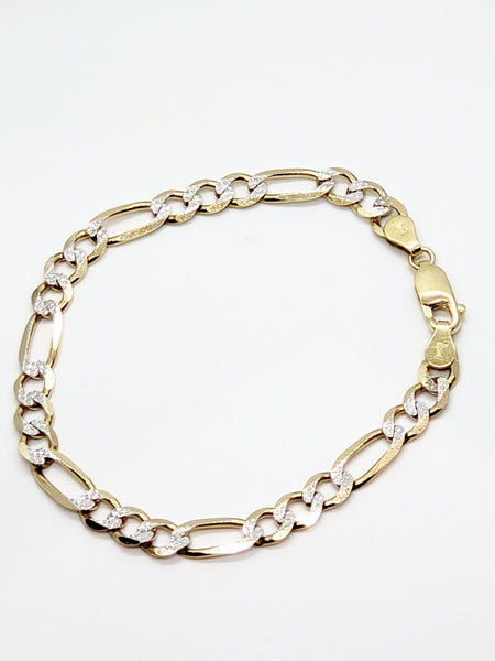 "14 Karat 8"" Two-Tone Men's Bracelet SKU: KC6654"