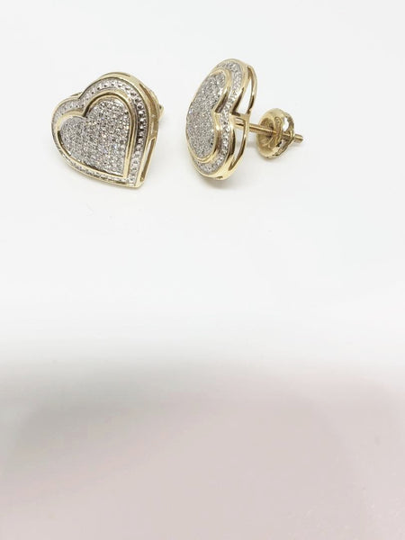 14K Yellow Gold 0.35CT Diamond  Heart Stud Earrings
