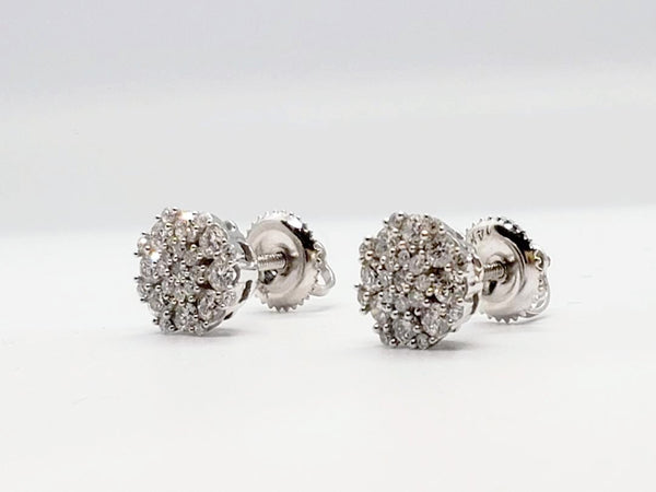 Diamond Cluster Stud Earrings 0.75 Carat