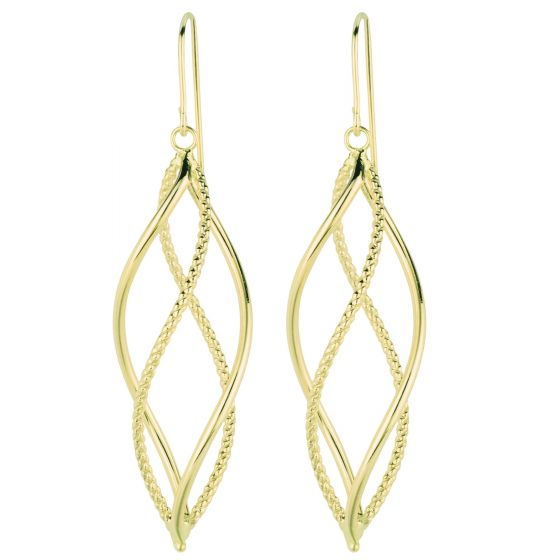 14K Yellow Gold Diamond Cut Double Hoop Free form Drop Earring KCER1044R