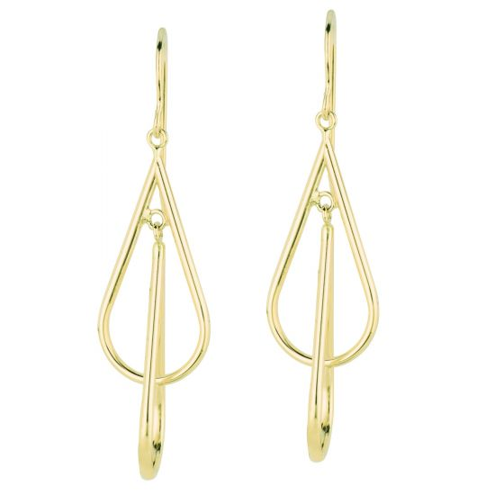 14K Yellow Gold Diamond Cut Double Hoop Free form Drop Earring KCER1047R