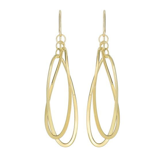 14K Yellow Gold Square Tube Hanging Open Oval Fancy Drop Earrings