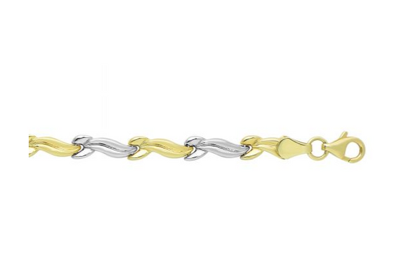 "14K 7.25"" Yellow+White Gold Diamond Cut Shiny Two-Tone Hugs+Kisses Fancy Bracelet KC3377"