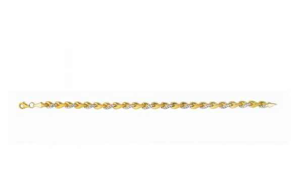 "14K 7.25"" Yellow+White Gold Diamond Cut Shiny Two-Tone Fancy Bracelet KC255"