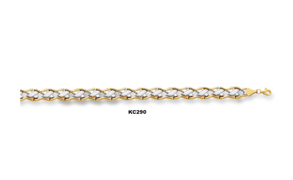 "14K 7.25"" Yellow+White Gold Shiny Textured Graduated Two Tone Fancy Bracelet KC290"