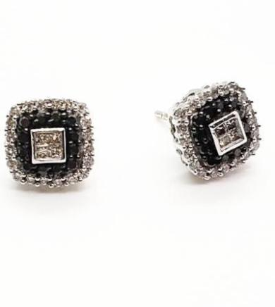 14K White Gold 0.60 CT Black & White Diamond Square Stud Earrings KCS4450