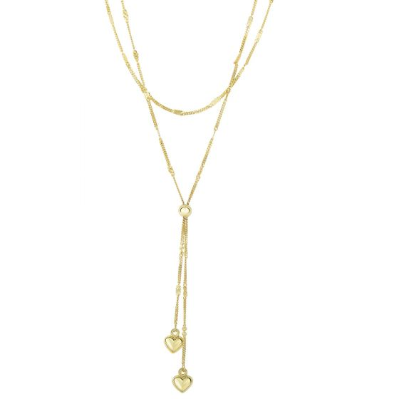 "14K 17"" Yellow Gold Shiny 2 Hanging Puffed Heart & 1 Ball On Graduated Strands Gourmette Type Fancy Necklace KCR2994"