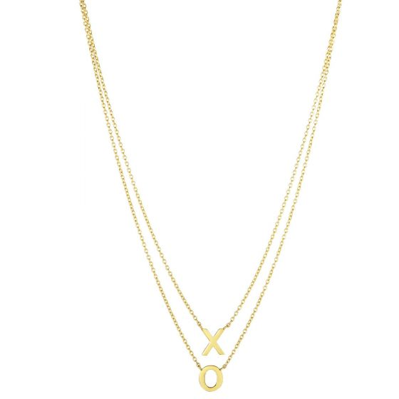 "14K 17"" Yellow Gold Shiny ""X"" & ""O"" On Single Into Double Strand Oval Link Fancy Necklace KCR3910"
