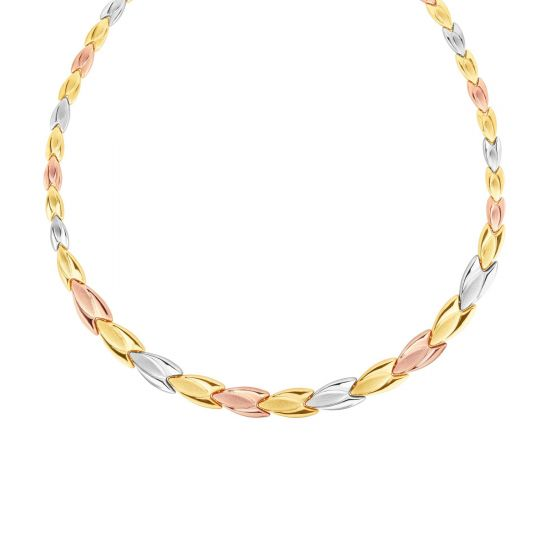 "14K 17"" Rose, White & Yellow Gold Shiny Fancy Graduated Stampato Necklace KCR4810"