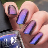"""Bowerbird's Treasure"" multichrome nail polish by Hit the Bottle. Shifts from royal blue, to purple, to coppery red."