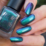 """Parrot Fashion"" a multichrome nail polish by Hit the Bottle. Shifts from emerald green, to blue to purple."