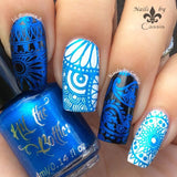 Blue-tiful stamping polish from Hit the Bottle, shown here over black and white.