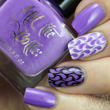 """High Voltage Violet"" stamping polish nail art swatch"