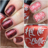 """Drop Red Gorgeous"" stamping polish swatch"