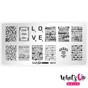 Whats Up Nails - Words of Emotions stamping plate