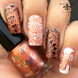 Copper Haired Girl stamping polish over black and white.
