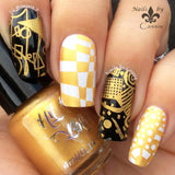To have and to Gold stamping polish over black and white.