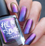 """Pheasantly Surprised"" multichrome nail polish from Hit the Bottle. Shifts from denim blue, to purple to magenta."