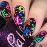 """Seas the Day"" stamping polish neon aqua nail art stamping swatc"