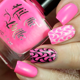 """I pink, therefore I am"" stamping polish nail art swatch"