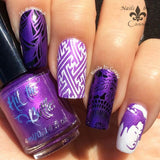 Purple Reign stamping polish over black and white.