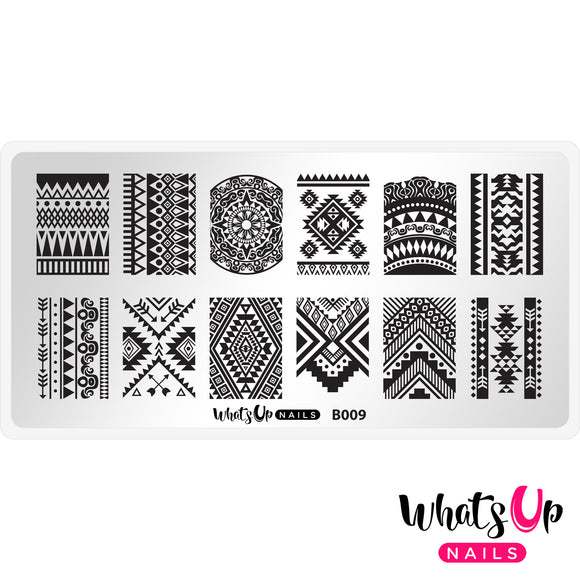 Whats Up Nails - B009 - Lost in Aztec stamping plate