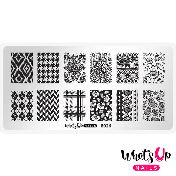 Whats Up Nails - B026 - Fashion Prints stamping plate