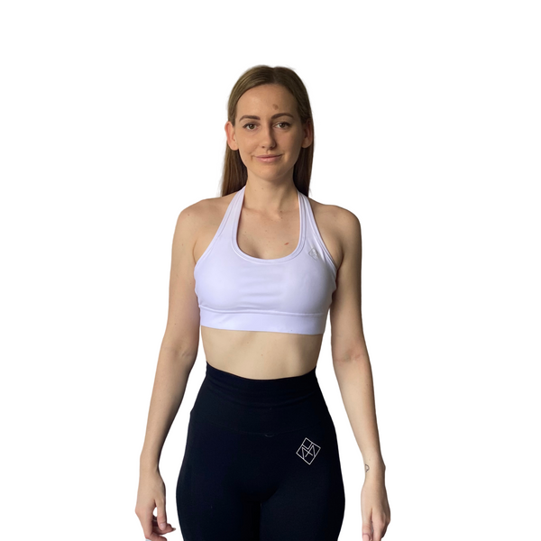 Basix Halter Crop - White - Midnight Fit