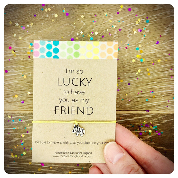 Best Friend Wish Bracelet, Lucky Elephant Card