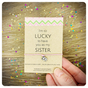 Lucky Sister Wish Bracelet, Gift For Sister