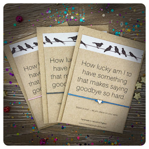3 Pack Miss You Wish Bracelet, Goodbye Wish Cards