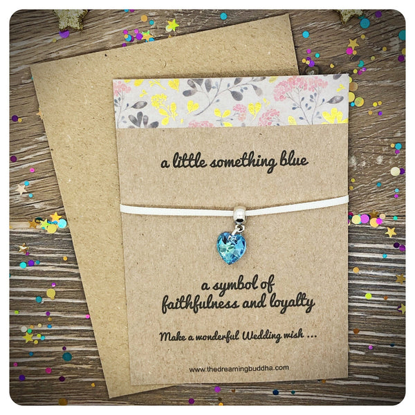 Something Blue Ribbon Bracelet, Blue Swarovski Wedding Keepsake Card
