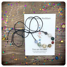 Solar System Necklace, Space Planet Beaded Gemstone Galaxy