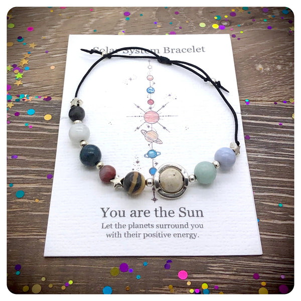 Adjustable Planet Bracelet, Gemstone Solar System Bracelet